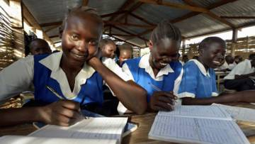 Girls at school in South Sudan