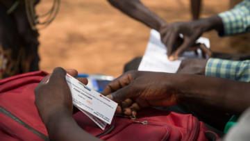CAFOD's local Church partner, the Diocese of Rumbek, gave out food vouchers to families affected by the drought and conflict in South Sudan in 2017.