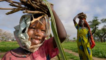 Girl carrying sticks in Darfur