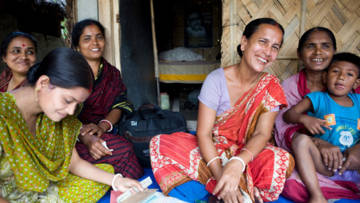 Sabita Biswas with the women's group she leads