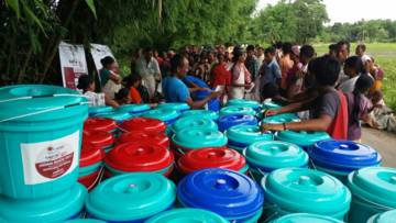 Caritas India are distributing hygiene kits to communities affected by the flooding and training people in safe and appropriate water and sanitation practices.