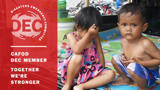 Children rescued after the Tsunami. CAFOD is responding as part of the DEC appeal