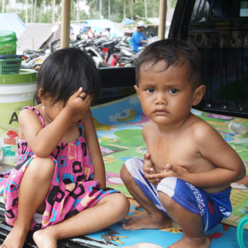 Children rescued after the tsunami