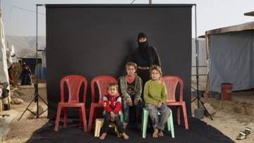 Razir and her family, refugees from Syria who were photographed as part of the Lost Family Portraits series in Lebanon by Dario Mitidieri on behalf of CAFOD