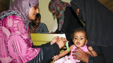 Yemen Crisis Appeal: A one year old girl diagnosed with malnutrition is treated in a clinic