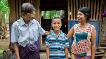 Money from CAFOD supporters and UK Aid helped people like Martin's family in Myanmar to recover from a cyclone