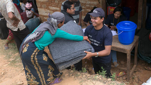 We rushed emergency aid to families in Nepal when the earthquake hit. 502 families in this area were given blankets and supplies.