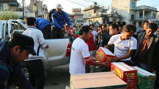 Distributing food in Nepal after the earthquake