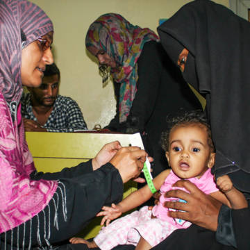 A one year old girl diagnosed with malnutrition is being treated at a clinic run by CAFOD's partner in Yemen