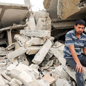 Shadi, 25, lost his home when it was bombed in the 2014 war in Gaza.
