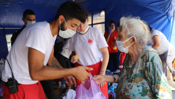 Aid worker in Beirut