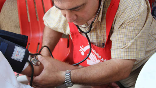 Doctor at mobile clinic