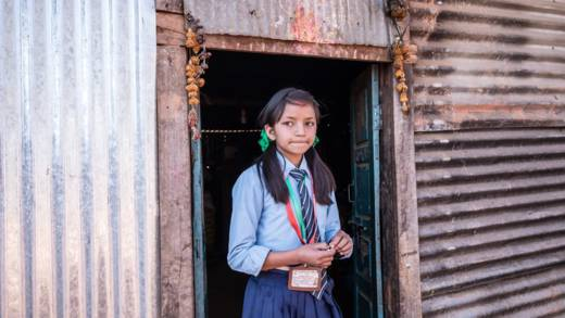 Thirteen-year-old Nirjala is a student at the new  Palchok Lower Secondary School.