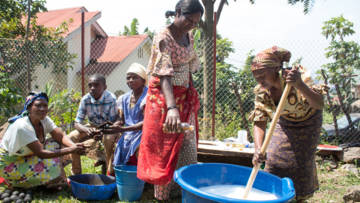 Supported by CAFOD, the Olame Centre women's group are making detergent and soap to combat the spread of coronavirus.