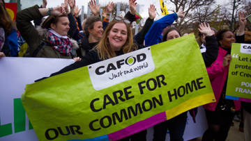 CAFOD campaigners in Paris for the December climate talks