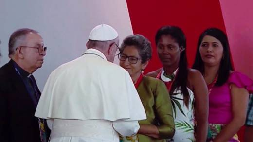 Pope Francis meets victims of Colombia's armed conflict, alongside Monsignor Hector Fabio Henao, Director of CAFOD's partner Caritas Colombia