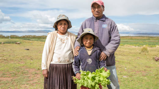 Elizabeth and Modesto with their young son. Our projects in Bolivia will help families like theirs to grow more food.