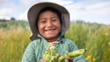 Santos grows beans in Bolivia CAFOD