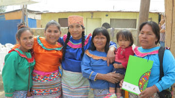 A group of indigenous women from the Shipibo community in Cashahuacras, Peru