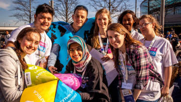 CAFOD young leaders at Flame 2 run the Chatterbox challenge