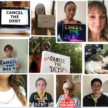 Cancel the debt campaigner collage