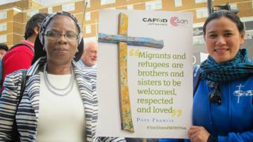 CAFOD Share the journey. Campaigners in Birmingham join a Walk of Witness with CAFOD, CSAN and JRS-UK in solidarity with refugees.