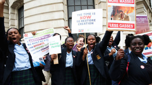 School girls at the June 2019 mass climate lobby
