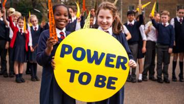 Primary children taking action for CAFOD's new Power to be energy campaign