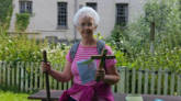 Edith Woods Shared the Journey on the London Outer Orbital Path. Here she is at Harefield West ready for a prayer stop.