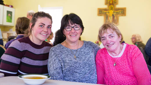 Parishioners sharing a simple meal for Family Fast Day