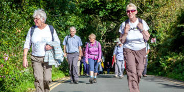 A group of fundraisers on a walking pilgrimage