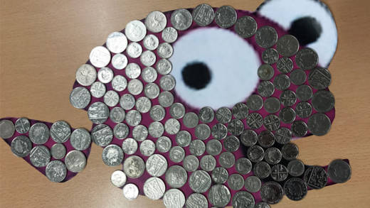 Fill a fish template with coins to fundraise this Lent.