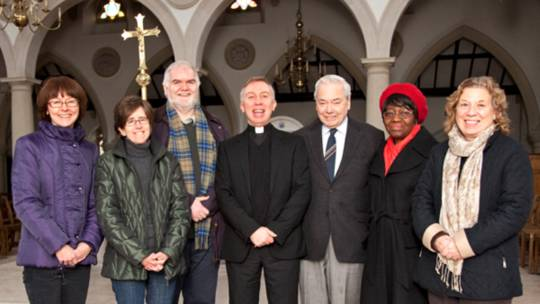 The Livesimply team at Brentwood Cathedral with the two assessors, Fr Chris and Odun Ogundipe