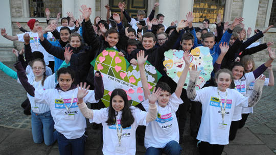 Young Climate Bloggers and pupils from St. Helen's Junior School launching CAFOD's climate campaign for schools at Brentwood Cathedral