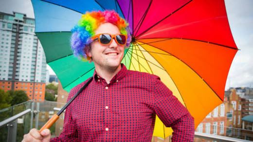 Jon is ready to get fundraising with his rainbow bright umbrella