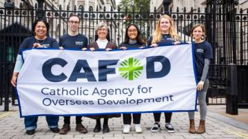 CAFOD campaigners outside Downing Street