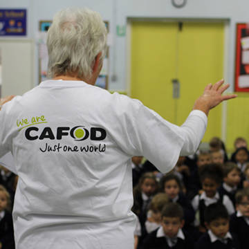 CAFOD education volunteer in school