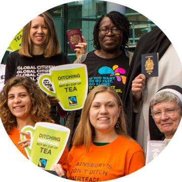 CAFOD volunteers campaigning for Fairtrade