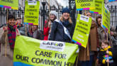 CAFOD volunteers at climate lobby