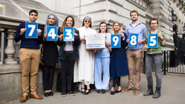 A nun, a student, a midwife and a community activist deliver a petition to Downing Street