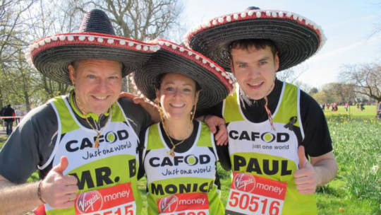 Three amigos at the London Marathon for CAFOD!