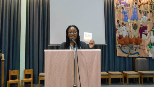 volunteer speaks in parish about the work of Catholic charity CAFOD