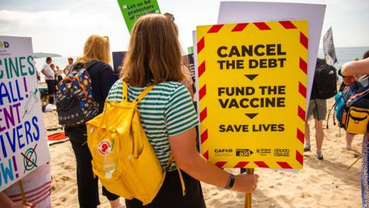 CAFOD campaigners in Cornwall urged the G7 leaders to cancel the debt and make vaccines available worldwide to end the pandemic