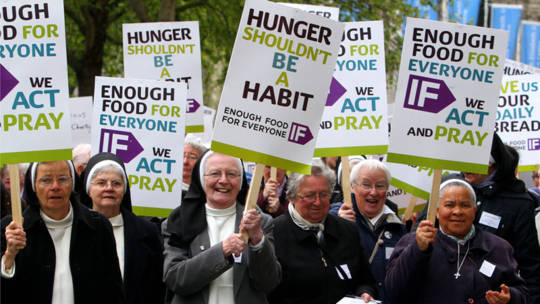 Enough Food for Everyone IF and CAFOD Religious lobby of parliament [Photo credit: Geoff Caddick/PA]