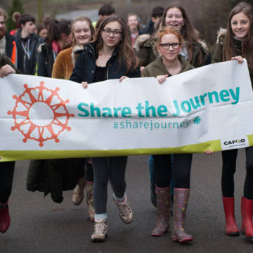 Young people join the Share the Journey walk with CAFOD.