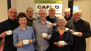 Kieran and CAFOD supporters at the soup lunch