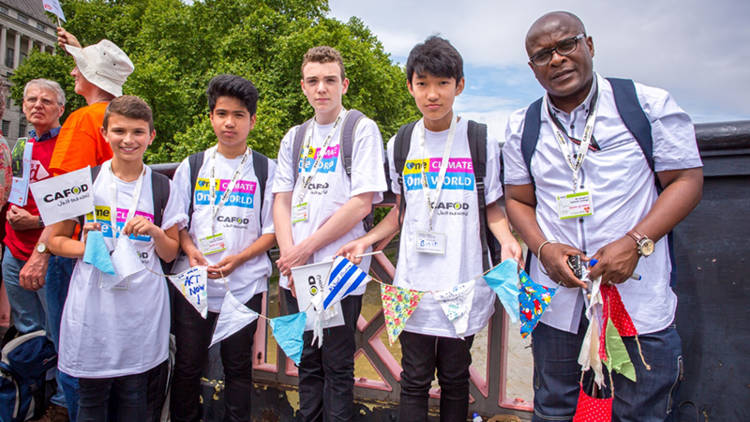 Young CAFOD volunteers protesting on climate change