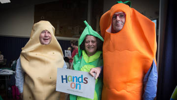 CAFOD volunteers in Westminster celebrate Hands On at Harvest by dressing up as vegetables!