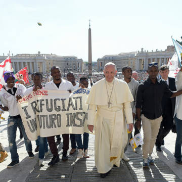 Pope and Refugee crisis. Pope Francis meets refugees and migrants in Rome.