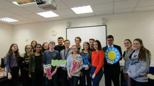 Group shot of politician Andy Burnham MP visiting St Mary's Catholic High School, Astley, to discuss climate change with 20 CAFOD young leaders.